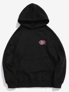 Red Lip Printed Fleece Pullover Hoodie - Black 2xl