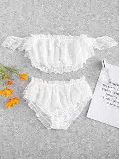 Lace Overlay Off Shoulder Top Knickers Lingerie Set - White