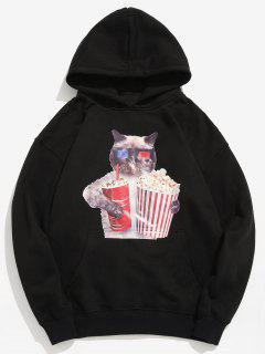 Funny Cat And Popcorn Printed Fleece Hoodie - Black L