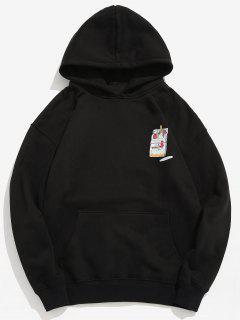 Funny Printed Hip Hop Style Hoodie - Black L