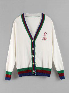 Embroidered Button Front Striped Cardigan - White