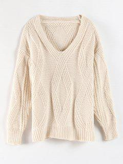 V Neck Geometric Texture Sweater - Warm White