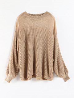 Bubble Sleeve Sheer Yoke Sweater - Camel Brown