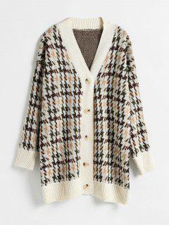 Button Through Houndstooth Jacquard Cardigan - Multi