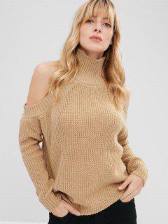 Pullover Turtleneck Cold Shoulder Sweater - Camel Brown