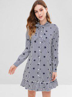 ZAFUL Striped Stars Ruffled Bowtie Dress - Dark Slate Blue L