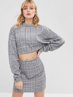 ZAFUL Plaid Crop Top And Skirt Set - Gray S