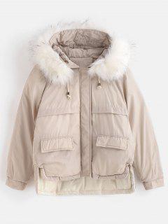 Manteau à Capuche Doudoune D'Hiver Court Matelassé En Fausse Fourrure - Beige L