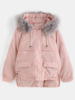 Faux Fur Hood Quilted Short Winter Coat - Pink M