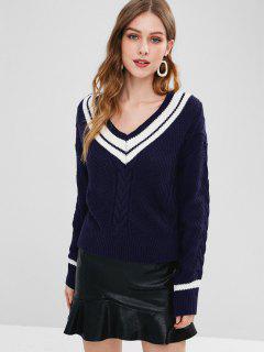 Striped Cable Knit V Neck Jumper - Deep Blue