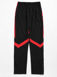 Contrast Striped Hem Zipper Sweatpants - Black M