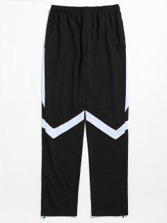 Contrast Striped Hem Zipper Sweatpants - White Xl