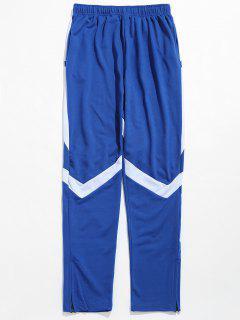 Contrast Striped Hem Zipper Sweatpants - Blue M