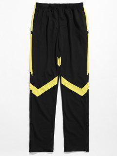 Contrast Striped Hem Zipper Sweatpants - Yellow L
