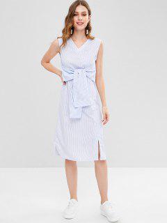 Gestreiftes Bowknot Kleid Mit Geradem Hemd - Multi L