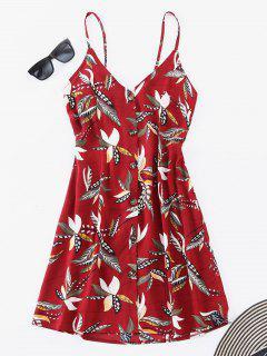 ZAFUL Robe Florale Boutonnée Nouée - Rouge Cerise L