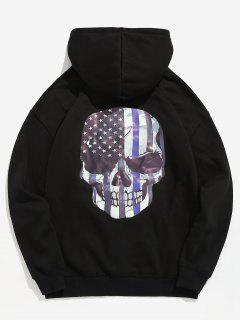 Amercian Flag Skull Printed Pullover Hoodie - Black Xl