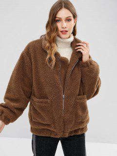 Zip Up Fluffy Winter Coat - Coffee S