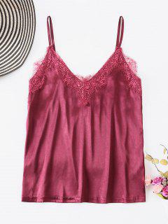 ZAFUL Satin Lace Panel Tank Top - Plum Velvet L