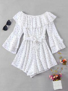 ZAFUL Flare Sleeve Dotted Off Shoulder Romper - White S