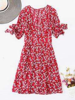 ZAFUL Button Up Knotted Floral Dress - Multi M