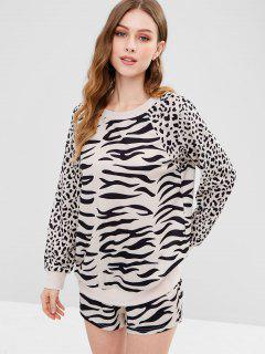 ZAFUL Leopard Sweatshirt And Shorts Set - Leopard S