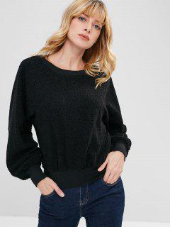 ZAFUL Raglan Sleeve Faux Shearling Teddy Sweatshirt - Black