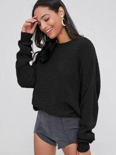 ZAFUL Chunky Knit Loose Sweater - Black