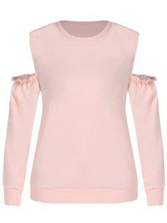 ZAFUL Plus Size Open Shoulder Sweatshirt - Orange Pink 1x