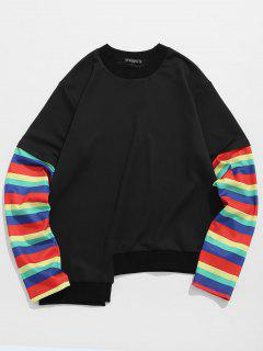 ZAFUL Patchwork Sleeve High Low Hem Sweatshirt - Black 2xl
