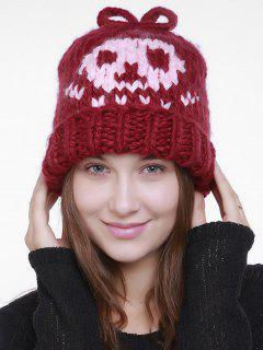 Skull Pattern Crochet Knitted Slouchy Beanie - Lava Red