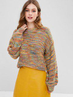 Lantern Sleeve Multicolored Chunky Sweater - Multi