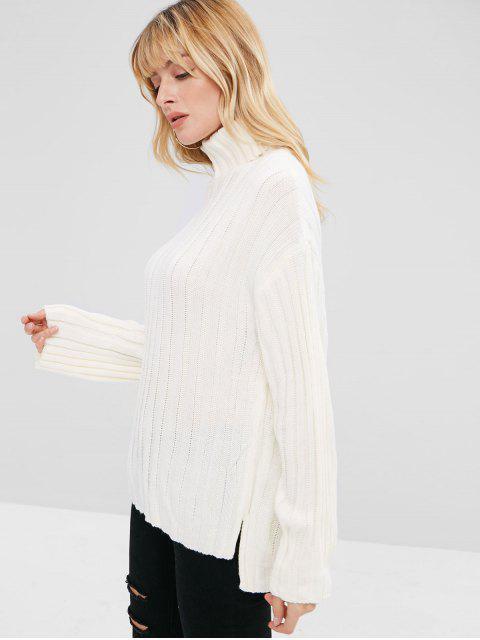 lady Side Slit Turtleneck Sweater - WHITE ONE SIZE Mobile
