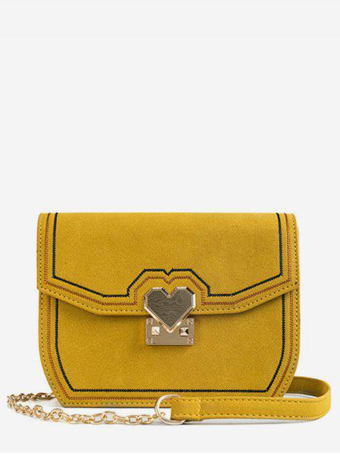 online PU Leather Metal Heart Crossbody Bag - BEE YELLOW  Mobile
