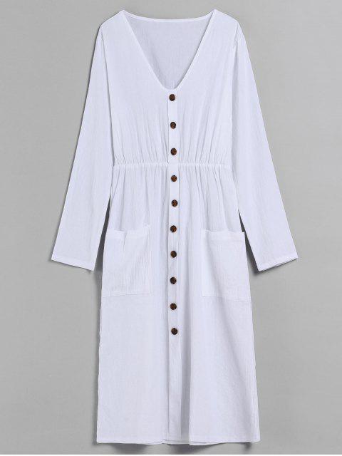 V-Ausschnitt Knöpfe verziert Kleid - Weiß S Mobile