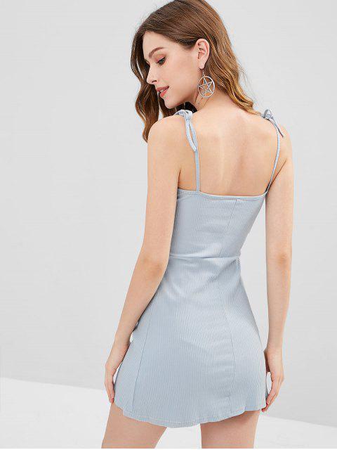 trendy Knitted Ribbed Slip Mini Dress - STONE BLUE S Mobile