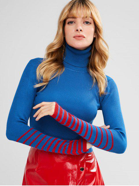 best Turtleneck Striped Sleeve Knitwear - BLUE ONE SIZE Mobile