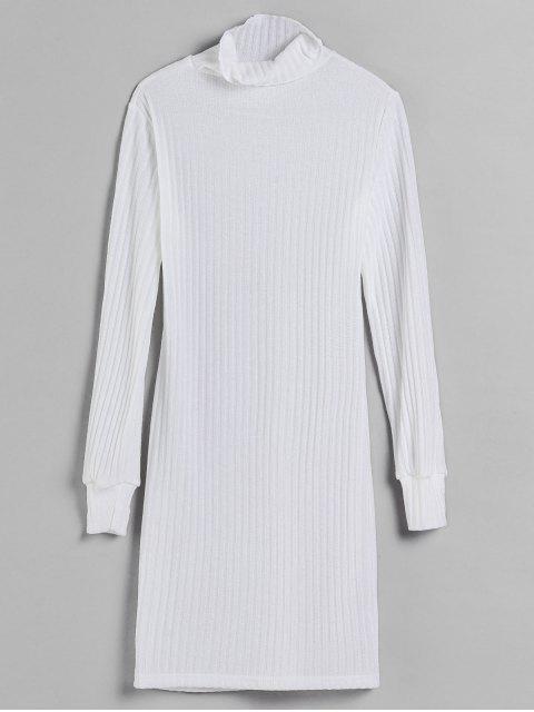 Vestido de punto ajustado de cuello alto - Blanco M Mobile
