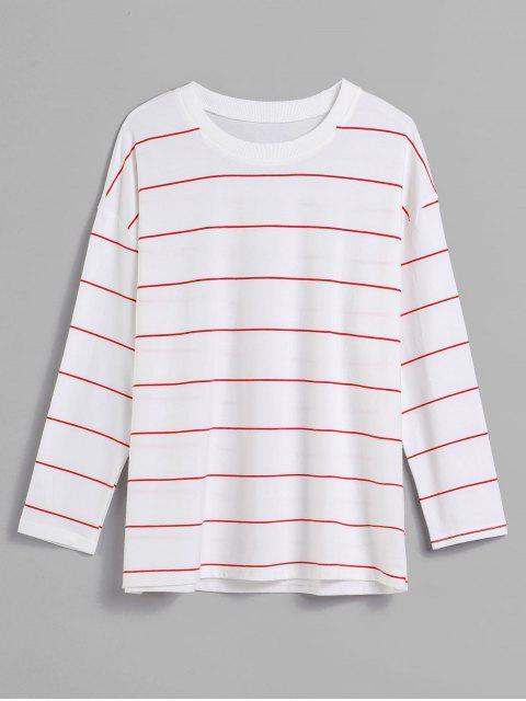 lady Long Sleeves Striped Sweatshirt - WHITE L Mobile