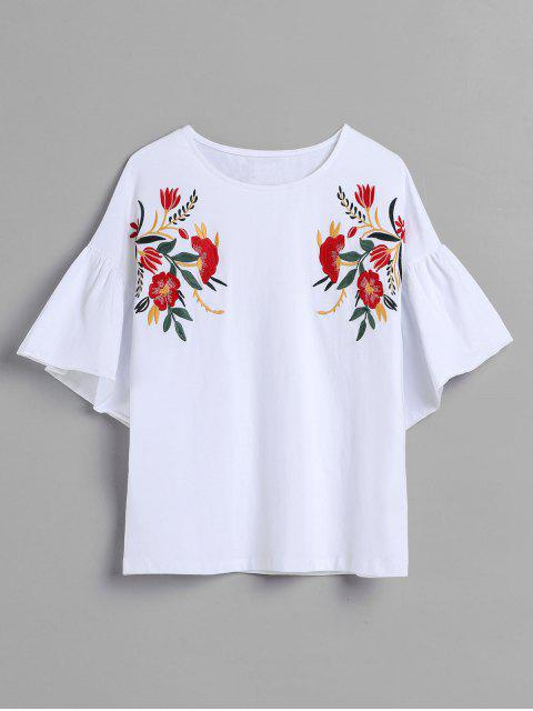 lady Floral Embroidered Bell Sleeve T-shirt - WHITE L Mobile