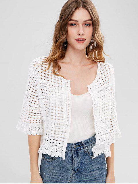 women's Openwork Knitted Cardigan - WHITE ONE SIZE Mobile