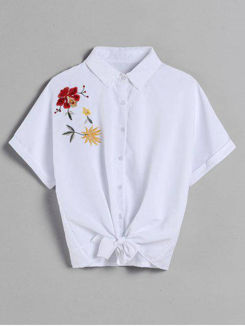 fancy Dolman Sleeve Embroidered Tie Shirt - WHITE M Mobile