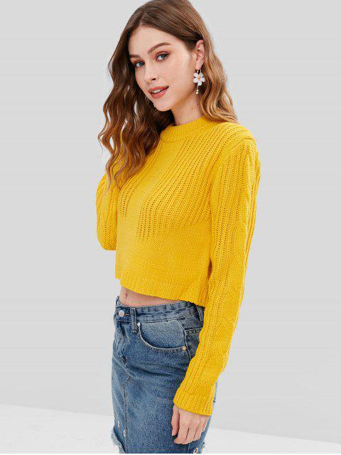 hot Cable Knit Panel Pullover Cropped Sweater - YELLOW ONE SIZE Mobile