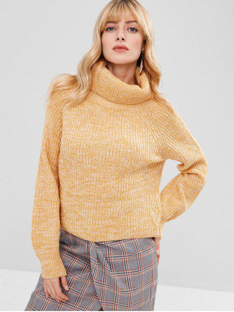 outfits Turtleneck Heathered Pullover Sweater - YELLOW ONE SIZE Mobile