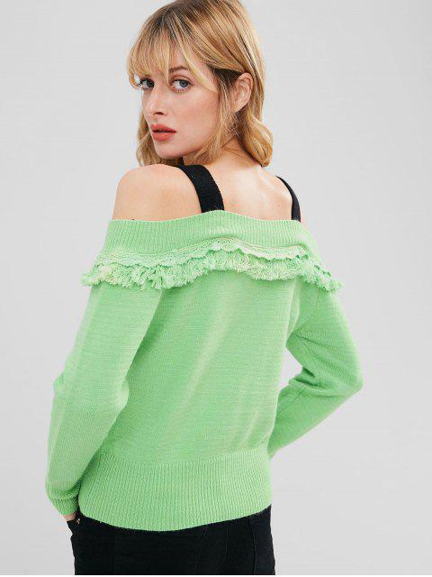 sale Cold Shoulder Tassels Sweater - APPLE GREEN M Mobile
