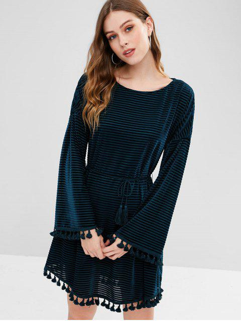 sale ZAFUL Shadow Striped Tassels Belted Dress - PEACOCK BLUE L Mobile