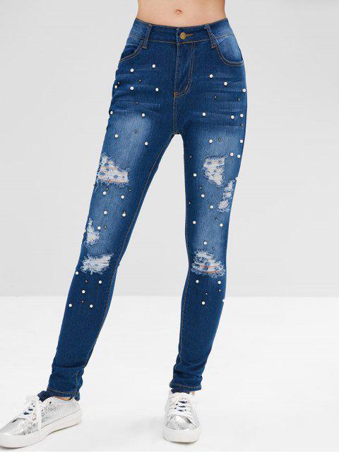 ladies Ripped Beads Embellished Jeans - DENIM DARK BLUE L Mobile