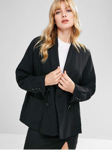 fancy Loose Double Breasted Blazer - BLACK S Mobile
