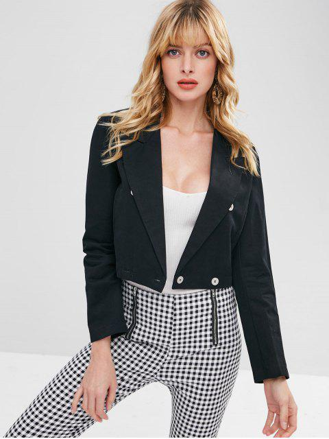 affordable Cropped Double Breasted Blazer - BLACK M Mobile