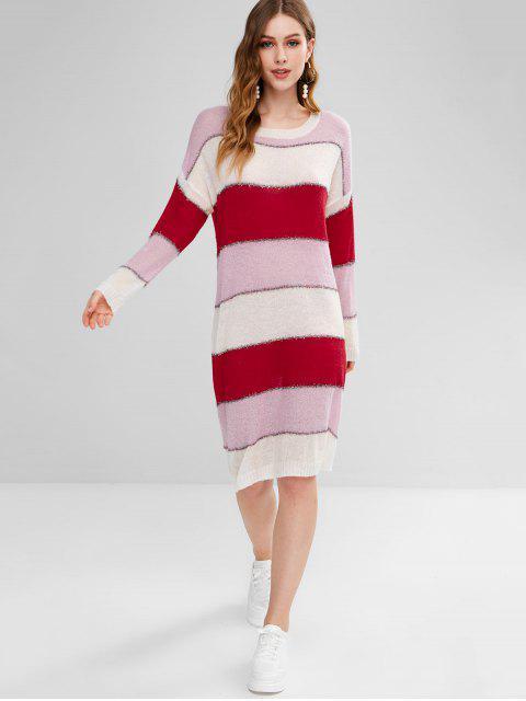 new Shiny Thread Stripes Sweater Dress - MULTI-B ONE SIZE Mobile